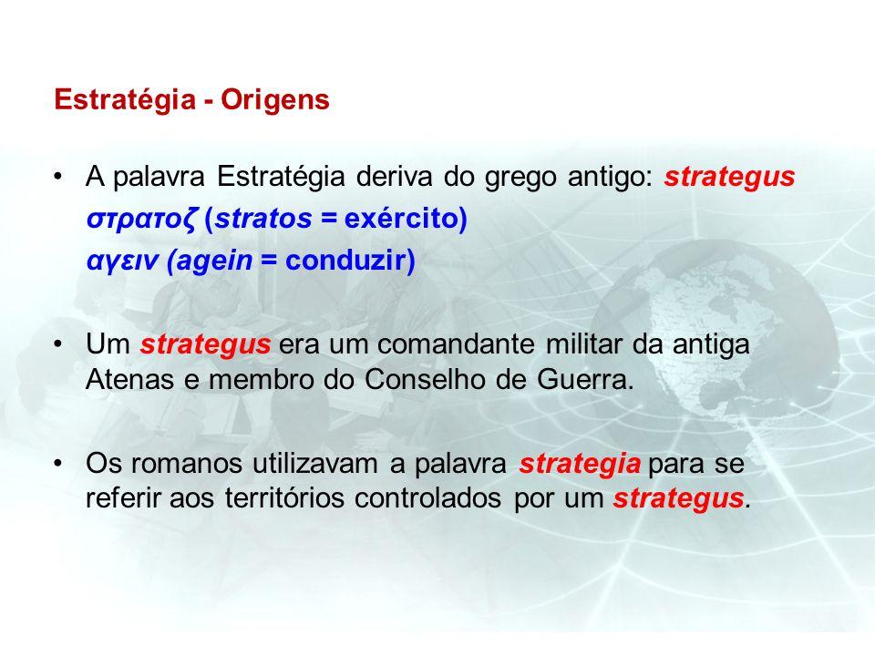 Estratégia - Origens A palavra Estratégia deriva do grego antigo: strategus στρατοζ (stratos = exército) αγειν (agein = conduzir) Um strategus era um