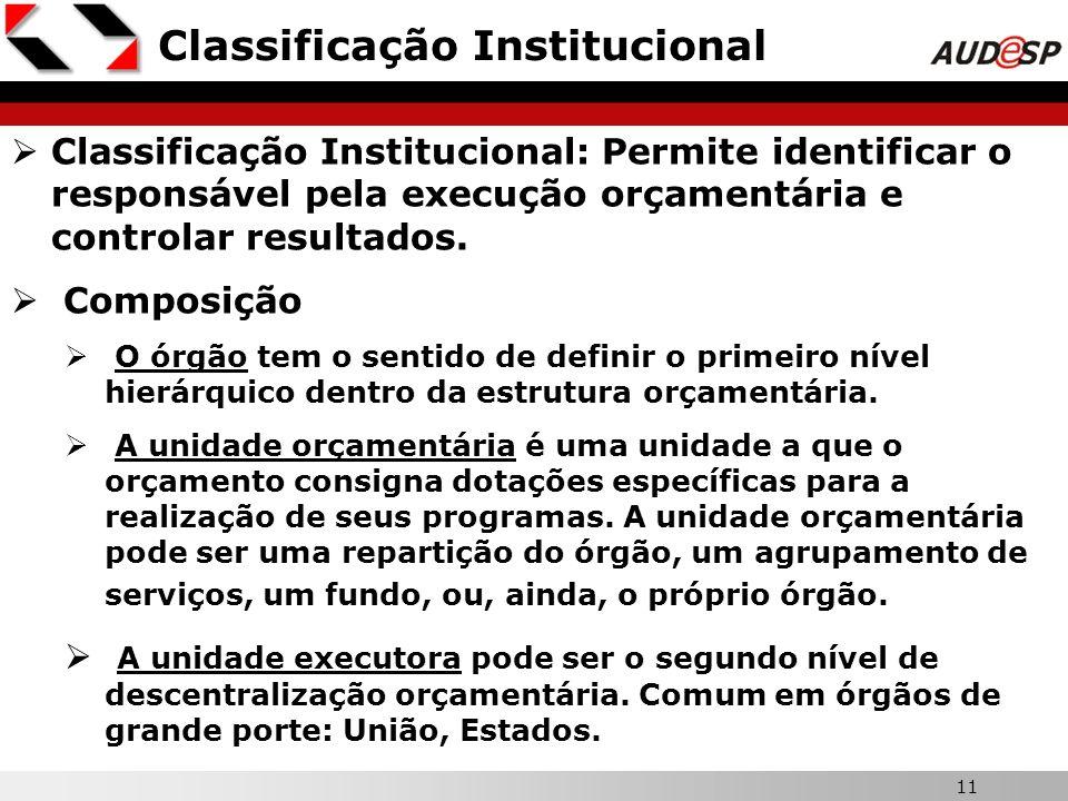 11 Classificação Institucional Classificação Institucional: Permite identificar o responsável pela execução orçamentária e controlar resultados. Compo