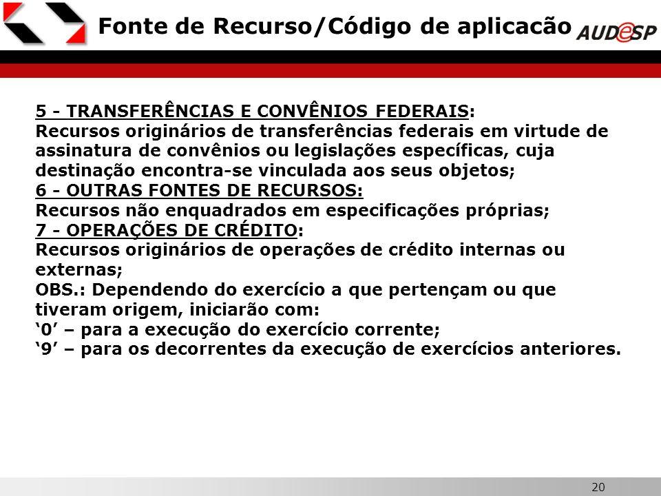 20 Fonte de Recurso/Código de aplicacão 5 - TRANSFERÊNCIAS E CONVÊNIOS FEDERAIS: Recursos originários de transferências federais em virtude de assinat