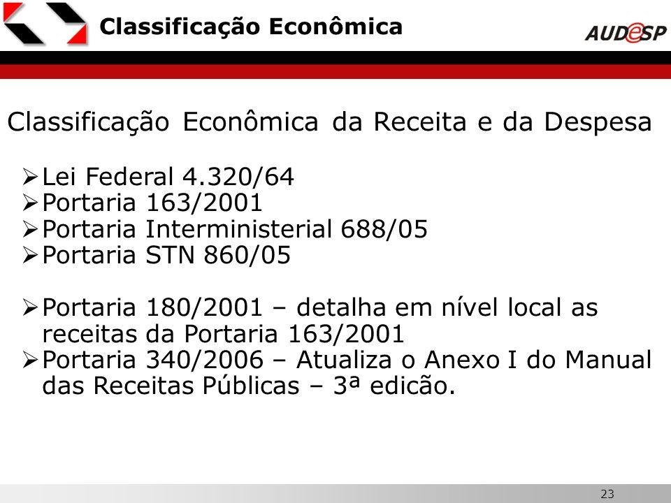 23 Classificação Econômica Classificação Econômica da Receita e da Despesa Lei Federal 4.320/64 Portaria 163/2001 Portaria Interministerial 688/05 Por