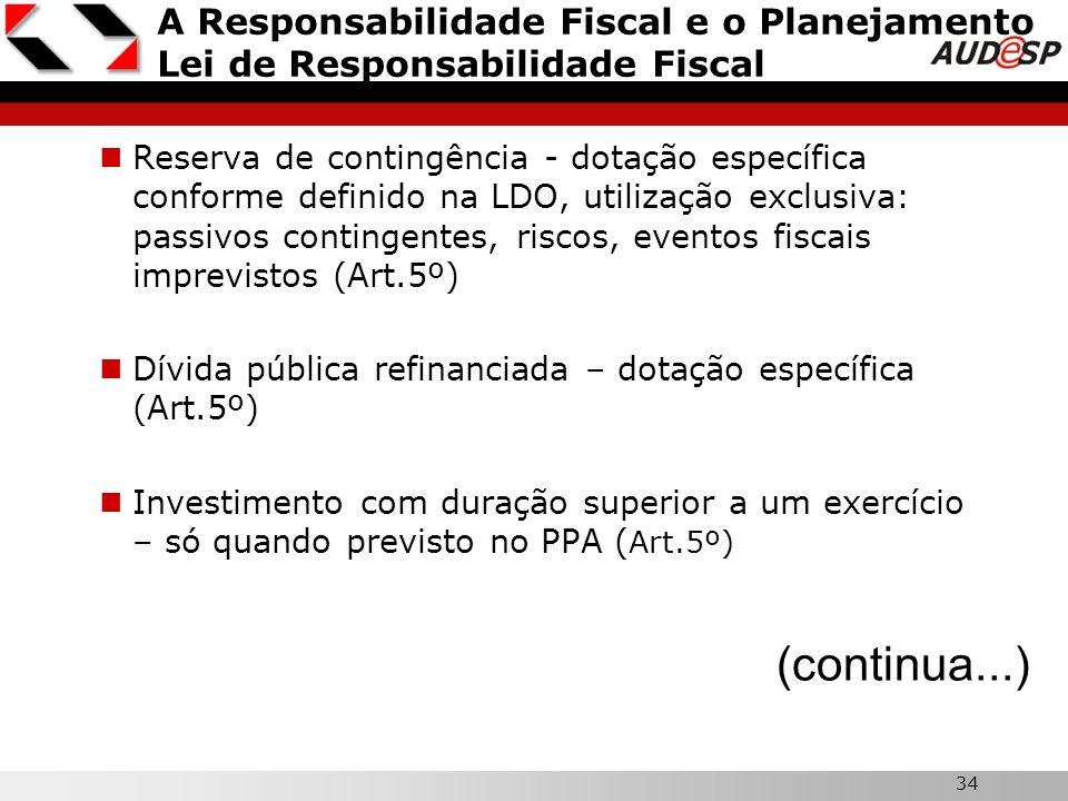 34 A Responsabilidade Fiscal e o Planejamento Lei de Responsabilidade Fiscal Reserva de contingência - dotação específica conforme definido na LDO, ut