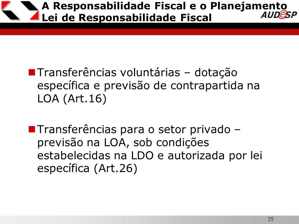 35 A Responsabilidade Fiscal e o Planejamento Lei de Responsabilidade Fiscal Transferências voluntárias – dotação específica e previsão de contraparti