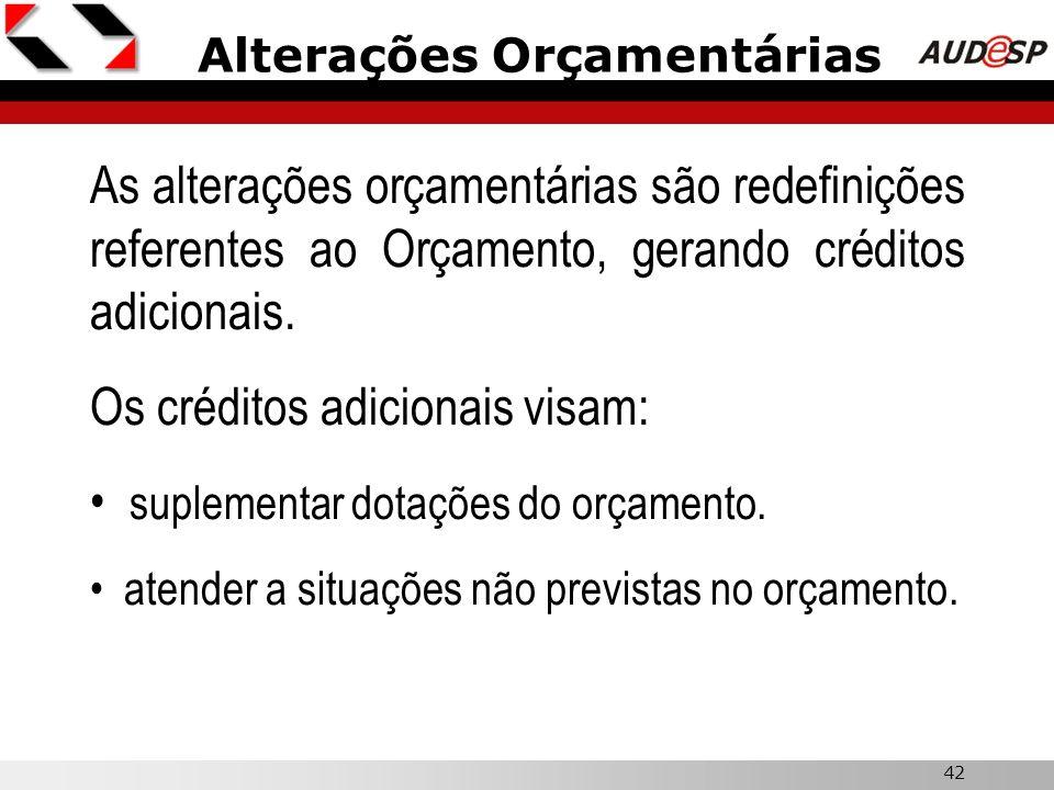 42 Alterações Orçamentárias As alterações orçamentárias são redefinições referentes ao Orçamento, gerando créditos adicionais. Os créditos adicionais
