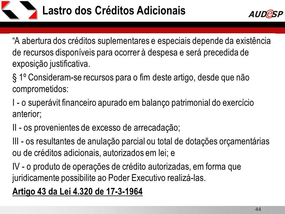 44 Lastro dos Créditos Adicionais A abertura dos créditos suplementares e especiais depende da existência de recursos disponíveis para ocorrer à despe