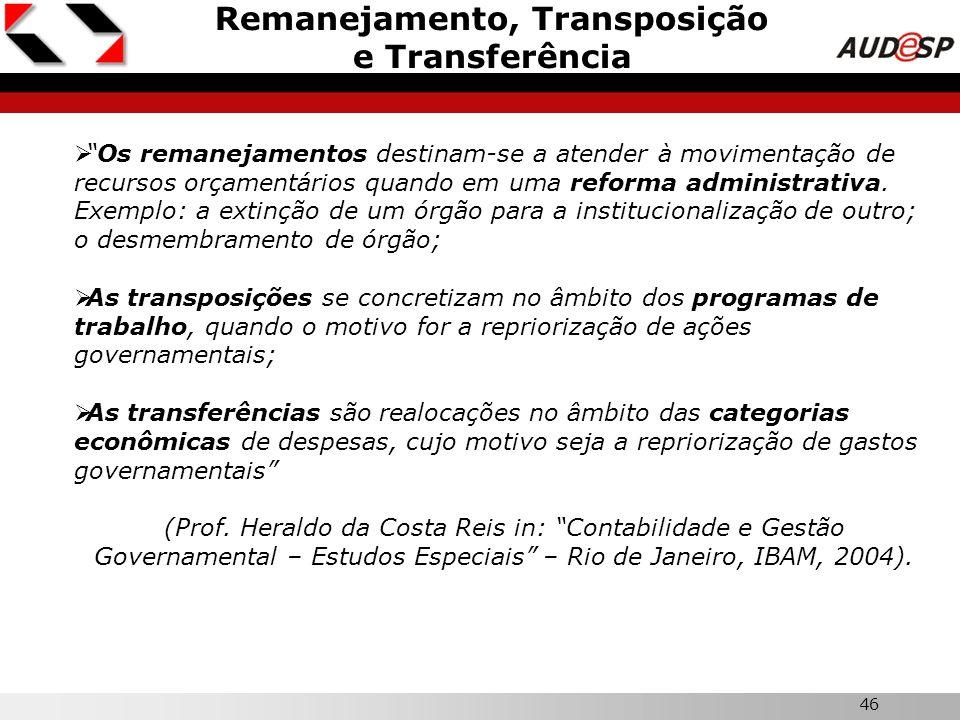 46 Remanejamento, Transposição e Transferência Os remanejamentos destinam-se a atender à movimentação de recursos orçamentários quando em uma reforma