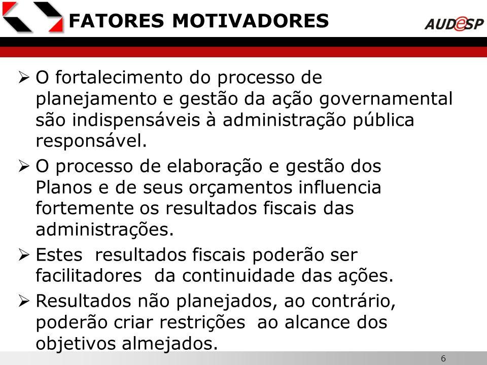 6 FATORES MOTIVADORES O fortalecimento do processo de planejamento e gestão da ação governamental são indispensáveis à administração pública responsáv