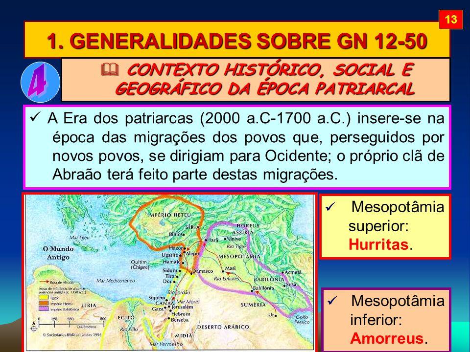1. GENERALIDADES SOBRE GN 12-50 CONTEXTO HISTÓRICO, SOCIAL E GEOGRÁFICO DA ÉPOCA PATRIARCAL CONTEXTO HISTÓRICO, SOCIAL E GEOGRÁFICO DA ÉPOCA PATRIARCA