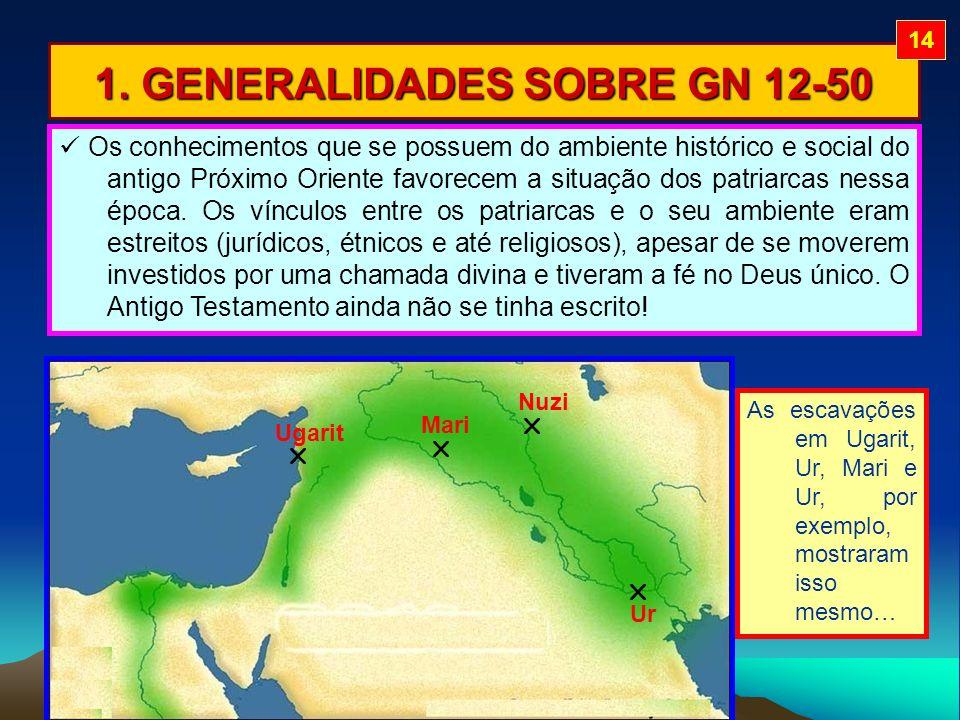 1. GENERALIDADES SOBRE GN 12-50 As escavações em Ugarit, Ur, Mari e Ur, por exemplo, mostraram isso mesmo… Ugarit Ur Mari Nuzi Os conhecimentos que se