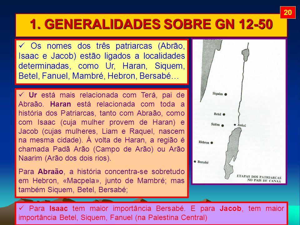 1. GENERALIDADES SOBRE GN 12-50 Os nomes dos três patriarcas (Abrão, Isaac e Jacob) estão ligados a localidades determinadas, como Ur, Haran, Siquem,