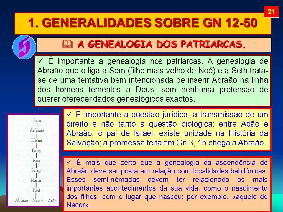 1. GENERALIDADES SOBRE GN 12-50 É mais que certo que a genealogia da ascendência de Abraão deve ser posta em relação com localidades babilónicas. Esse