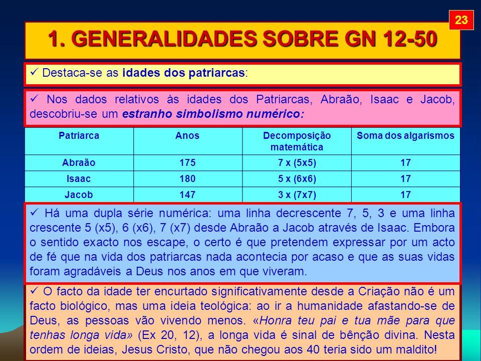 1. GENERALIDADES SOBRE GN 12-50 Destaca-se as idades dos patriarcas: Nos dados relativos às idades dos Patriarcas, Abraão, Isaac e Jacob, descobriu-se