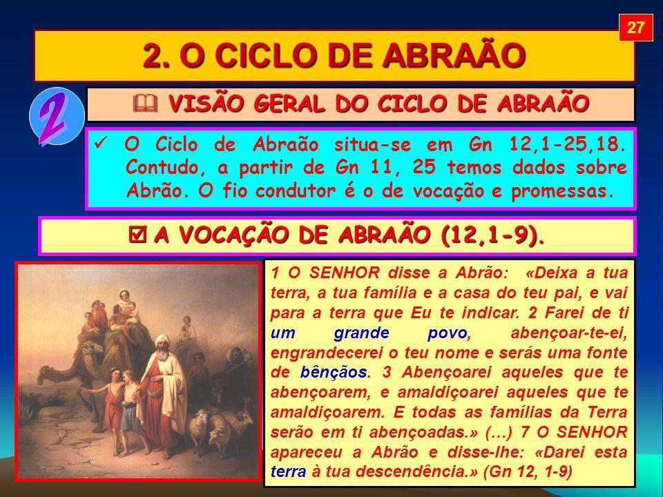 2. O CICLO DE ABRAÃO VISÃO GERAL DO CICLO DE ABRAÃO VISÃO GERAL DO CICLO DE ABRAÃO O Ciclo de Abraão situa-se em Gn 12,1-25,18. Contudo, a partir de G