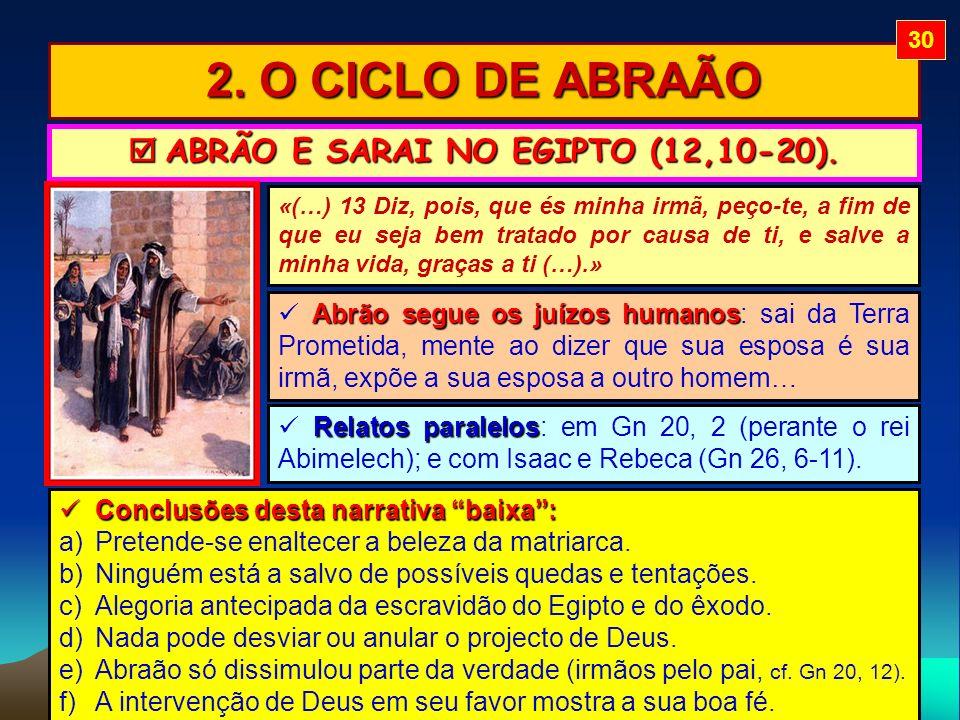 2. O CICLO DE ABRAÃO ABRÃO E SARAI NO EGIPTO (12,10-20). ABRÃO E SARAI NO EGIPTO (12,10-20). Abrão segue os juízos humanos Abrão segue os juízos human
