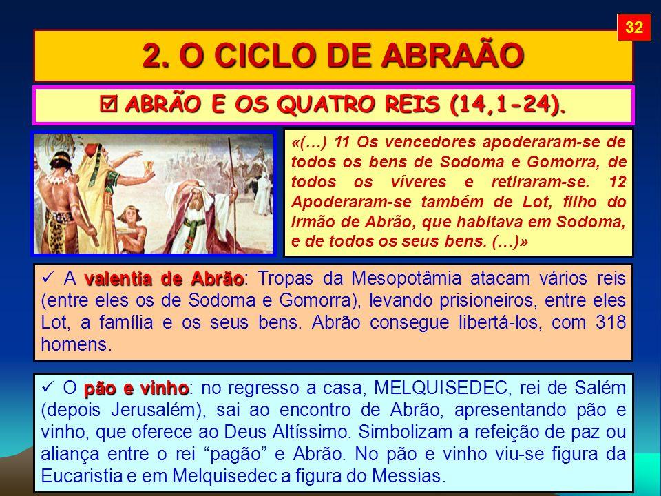 2. O CICLO DE ABRAÃO ABRÃO E OS QUATRO REIS (14,1-24). ABRÃO E OS QUATRO REIS (14,1-24). «(…) 11 Os vencedores apoderaram-se de todos os bens de Sodom