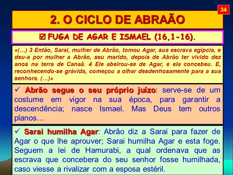 2. O CICLO DE ABRAÃO FUGA DE AGAR E ISMAEL (16,1-16). FUGA DE AGAR E ISMAEL (16,1-16). «(…) 3 Então, Sarai, mulher de Abrão, tomou Agar, sua escrava e
