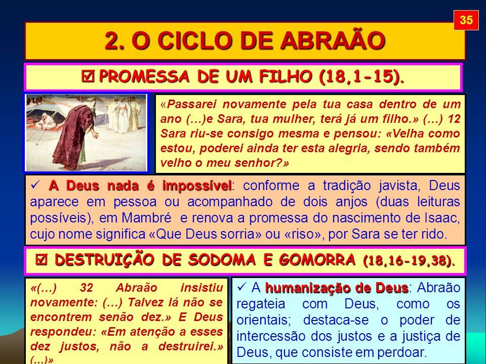 2. O CICLO DE ABRAÃO PROMESSA DE UM FILHO (18,1-15). PROMESSA DE UM FILHO (18,1-15). «Passarei novamente pela tua casa dentro de um ano (…)e Sara, tua