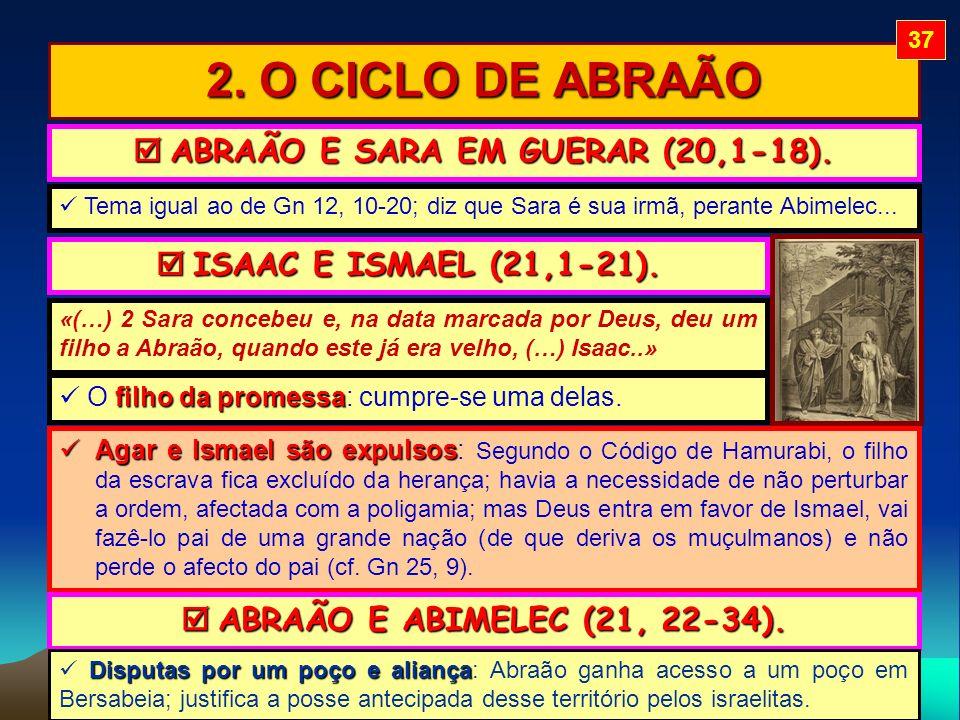 2. O CICLO DE ABRAÃO ABRAÃO E SARA EM GUERAR (20,1-18). ABRAÃO E SARA EM GUERAR (20,1-18). ISAAC E ISMAEL (21,1-21). ISAAC E ISMAEL (21,1-21). Tema ig