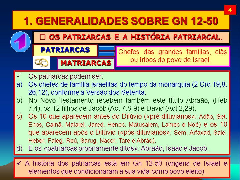 1. GENERALIDADES SOBRE GN 12-50 OS PATRIARCAS E A HISTÓRIA PATRIARCAL. OS PATRIARCAS E A HISTÓRIA PATRIARCAL. Chefes das grandes famílias, clãs ou tri