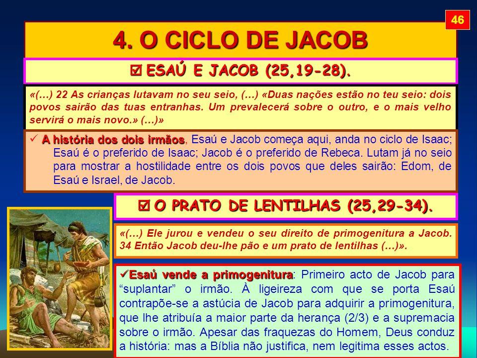4. O CICLO DE JACOB ESAÚ E JACOB (25,19-28). ESAÚ E JACOB (25,19-28). «(…) 22 As crianças lutavam no seu seio, (…) «Duas nações estão no teu seio: doi