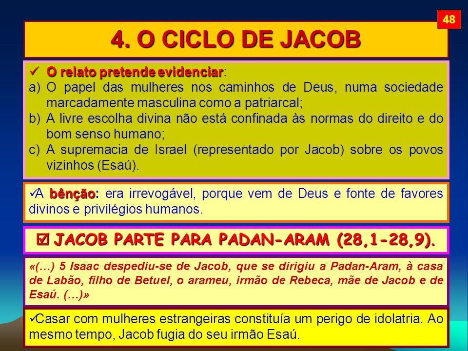 4. O CICLO DE JACOB O relato pretende evidenciar O relato pretende evidenciar: a)O papel das mulheres nos caminhos de Deus, numa sociedade marcadament
