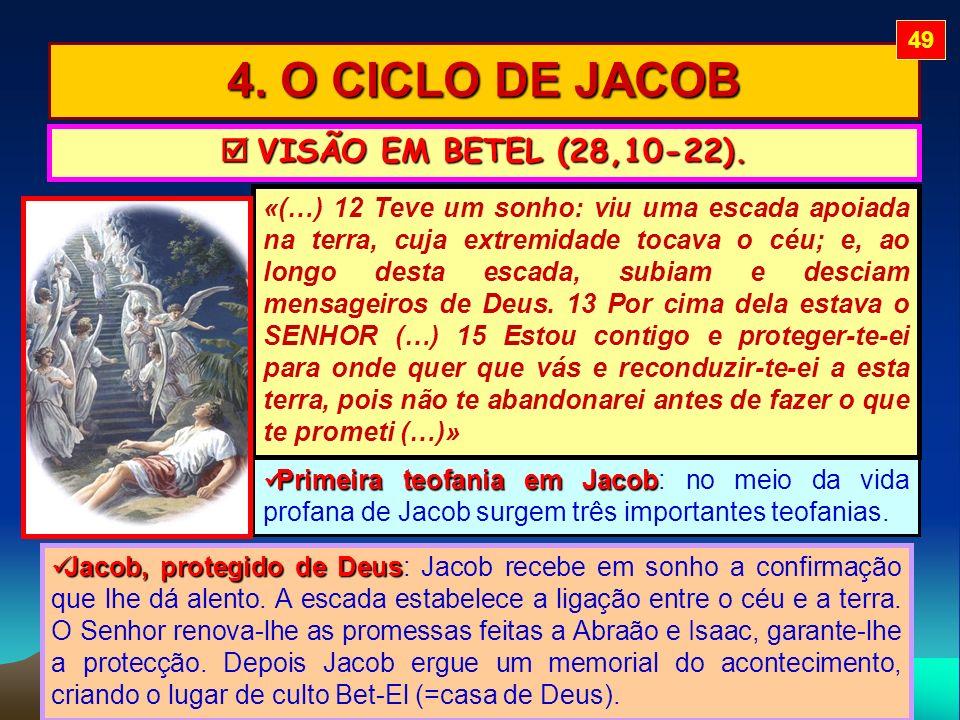 4. O CICLO DE JACOB VISÃO EM BETEL (28,10-22). VISÃO EM BETEL (28,10-22). «(…) 12 Teve um sonho: viu uma escada apoiada na terra, cuja extremidade toc