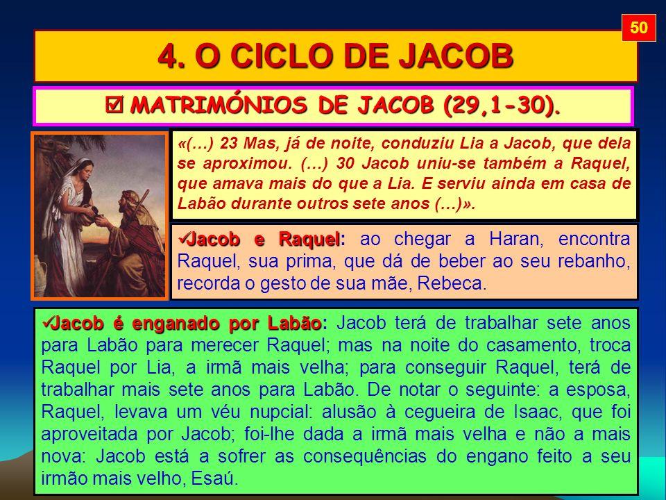 4. O CICLO DE JACOB MATRIMÓNIOS DE JACOB (29,1-30). MATRIMÓNIOS DE JACOB (29,1-30). «(…) 23 Mas, já de noite, conduziu Lia a Jacob, que dela se aproxi
