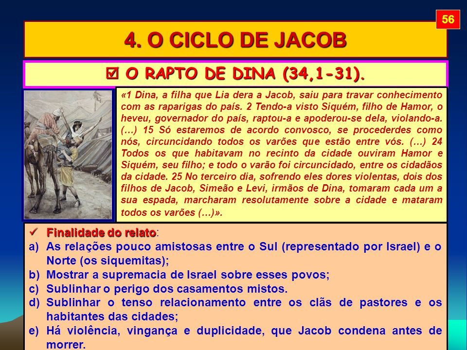 4. O CICLO DE JACOB 56 O RAPTO DE DINA (34,1-31). O RAPTO DE DINA (34,1-31). «1 Dina, a filha que Lia dera a Jacob, saiu para travar conhecimento com