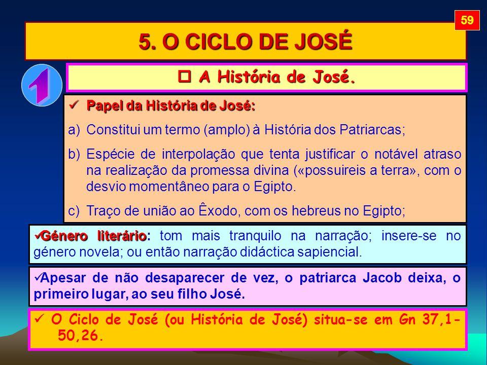 5. O CICLO DE JOSÉ A História de José. A História de José. Papel da História de José: Papel da História de José: a)Constitui um termo (amplo) à Histór