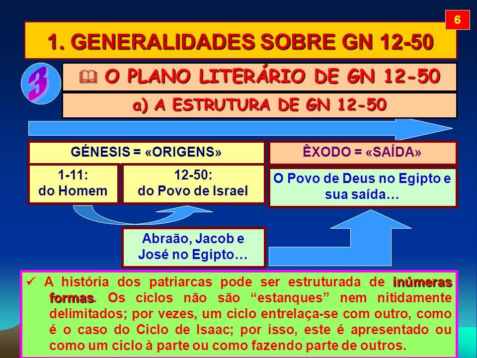 1. GENERALIDADES SOBRE GN 12-50 O PLANO LITERÁRIO DE GN 12-50 O PLANO LITERÁRIO DE GN 12-50 inúmeras formas A história dos patriarcas pode ser estrutu