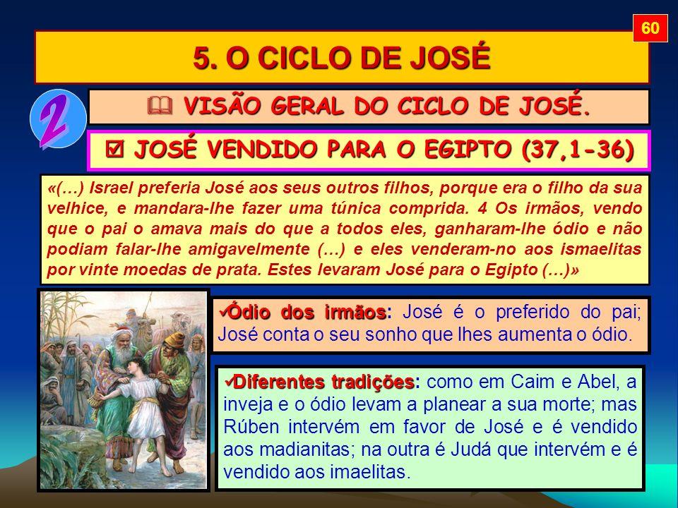 5. O CICLO DE JOSÉ «(…) Israel preferia José aos seus outros filhos, porque era o filho da sua velhice, e mandara-lhe fazer uma túnica comprida. 4 Os