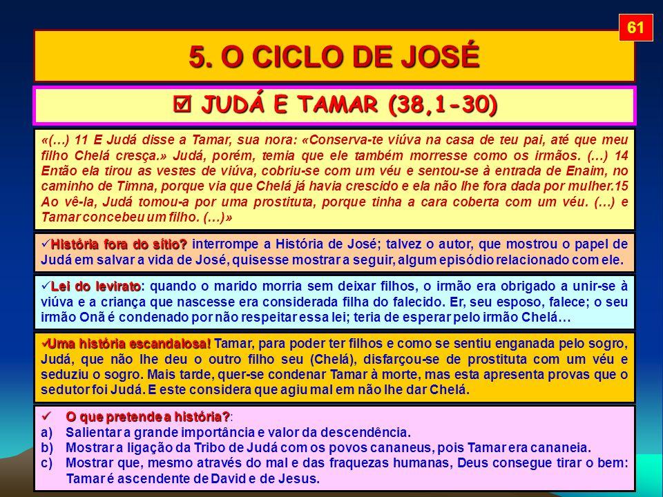 5. O CICLO DE JOSÉ «(…) 11 E Judá disse a Tamar, sua nora: «Conserva-te viúva na casa de teu pai, até que meu filho Chelá cresça.» Judá, porém, temia