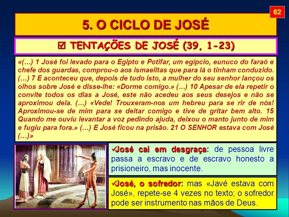5. O CICLO DE JOSÉ «(…) 1 José foi levado para o Egipto e Potifar, um egípcio, eunuco do faraó e chefe dos guardas, comprou-o aos ismaelitas que para