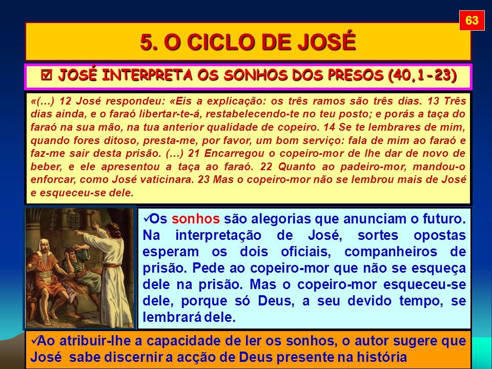 5. O CICLO DE JOSÉ «(…) 12 José respondeu: «Eis a explicação: os três ramos são três dias. 13 Três dias ainda, e o faraó libertar-te-á, restabelecendo
