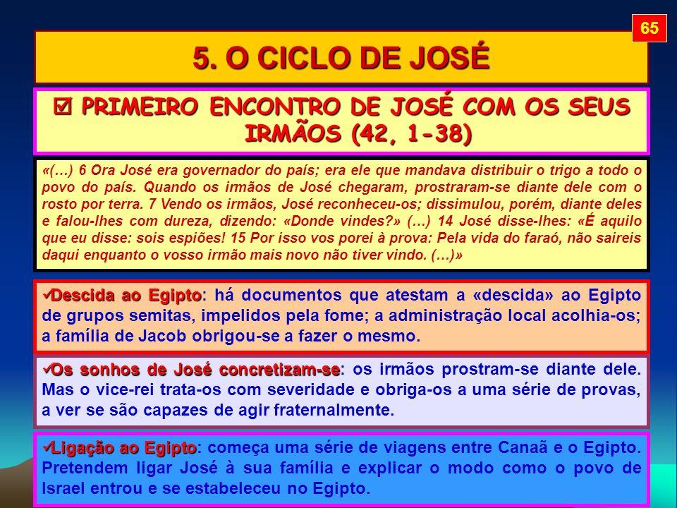 5. O CICLO DE JOSÉ «(…) 6 Ora José era governador do país; era ele que mandava distribuir o trigo a todo o povo do país. Quando os irmãos de José cheg