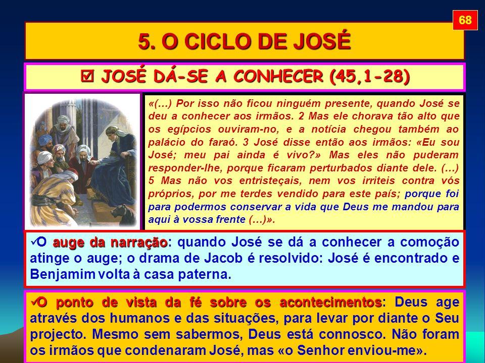 5. O CICLO DE JOSÉ «(…) Por isso não ficou ninguém presente, quando José se deu a conhecer aos irmãos. 2 Mas ele chorava tão alto que os egípcios ouvi