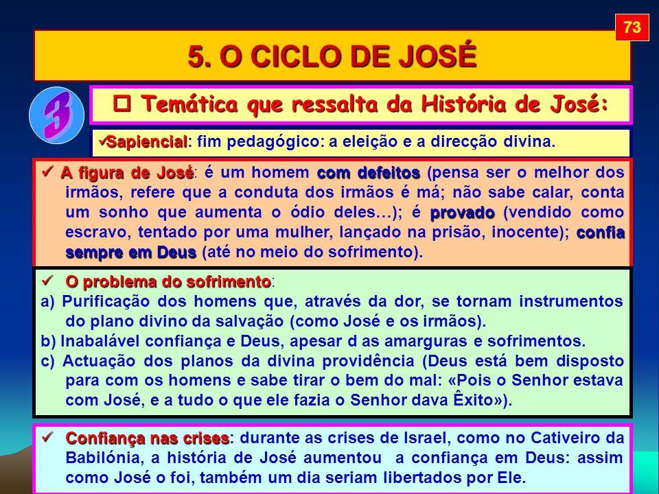 5. O CICLO DE JOSÉ Temática que ressalta da História de José: Temática que ressalta da História de José: Sapiencial Sapiencial: fim pedagógico: a elei