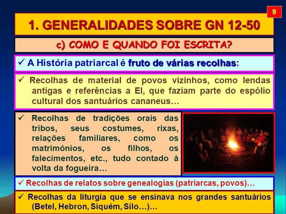 1. GENERALIDADES SOBRE GN 12-50 Recolhas de material de povos vizinhos, como lendas antigas e referências a El, que faziam parte do espólio cultural d