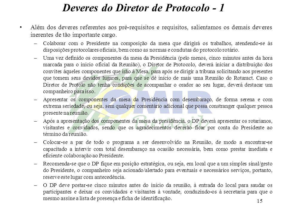 15 Deveres do Diretor de Protocolo - 1 Além dos deveres referentes aos pré-requisitos e requisitos, salientamos os demais deveres inerentes de tão imp