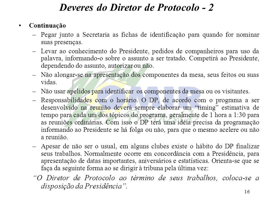 16 Deveres do Diretor de Protocolo - 2 Continuação –Pegar junto a Secretaria as fichas de identificação para quando for nominar suas presenças. –Levar