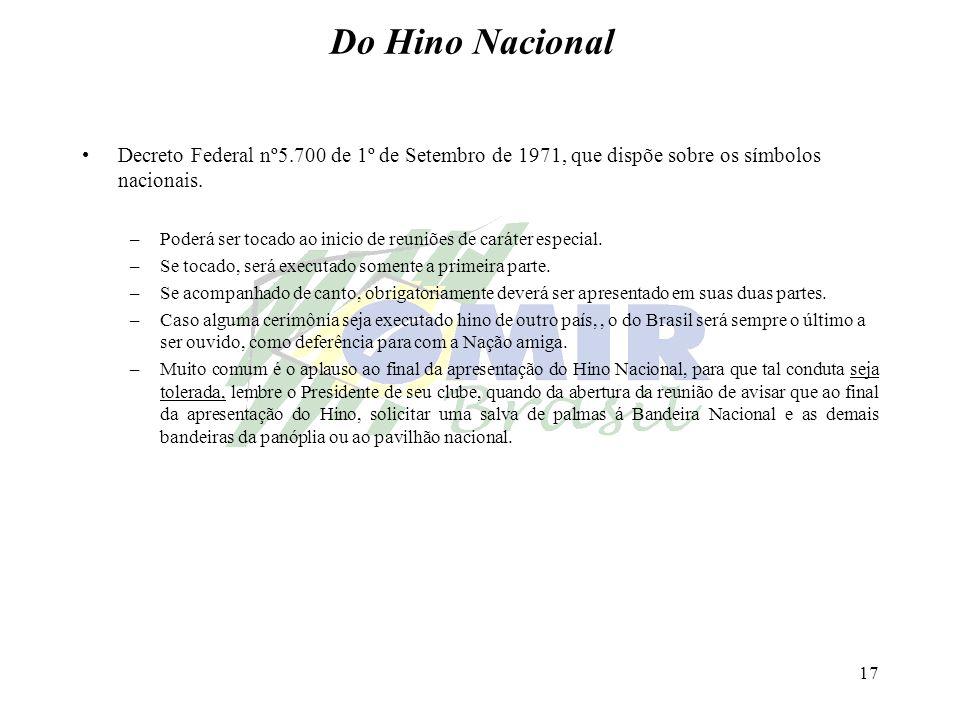 17 Do Hino Nacional Decreto Federal nº5.700 de 1º de Setembro de 1971, que dispõe sobre os símbolos nacionais. –Poderá ser tocado ao inicio de reuniõe
