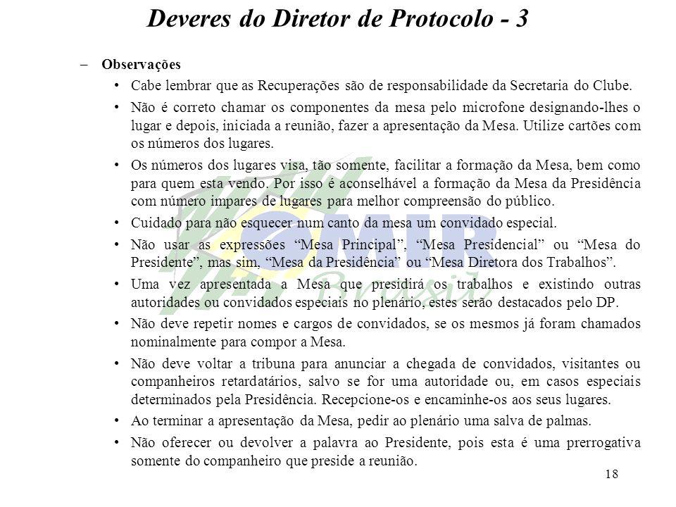 18 Deveres do Diretor de Protocolo - 3 –Observações Cabe lembrar que as Recuperações são de responsabilidade da Secretaria do Clube. Não é correto cha