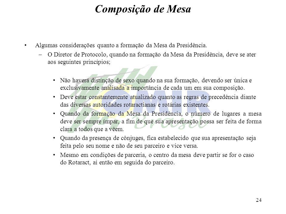 24 Composição de Mesa Algumas considerações quanto a formação da Mesa da Presidência. –O Diretor de Protocolo, quando na formação da Mesa da Presidênc