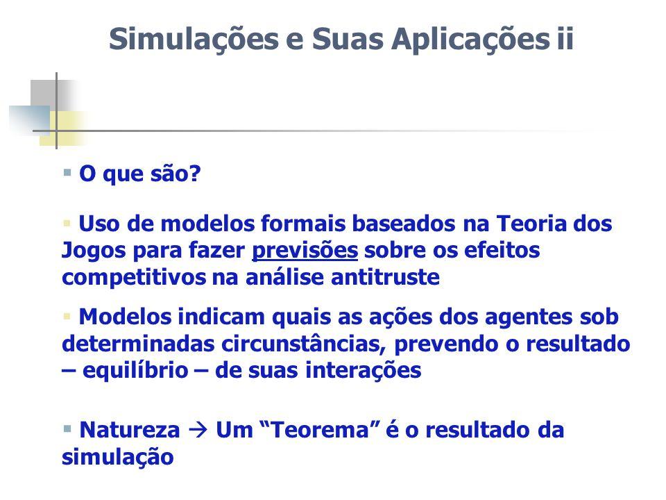 Simulações e Suas Aplicações ii O que são? Uso de modelos formais baseados na Teoria dos Jogos para fazer previsões sobre os efeitos competitivos na a