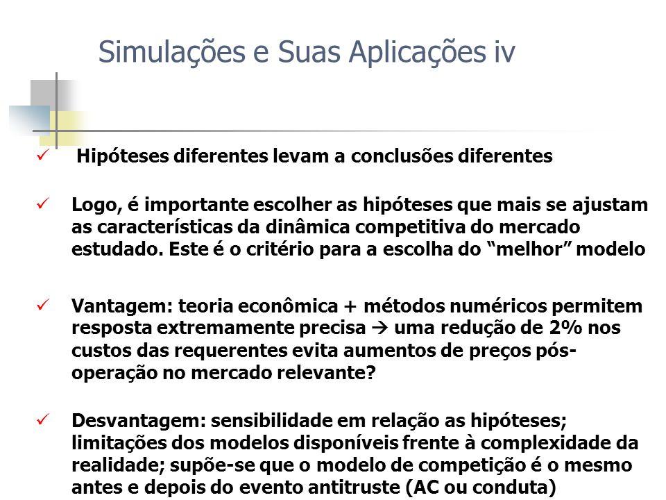 Hipóteses diferentes levam a conclusões diferentes Logo, é importante escolher as hipóteses que mais se ajustam as características da dinâmica competi