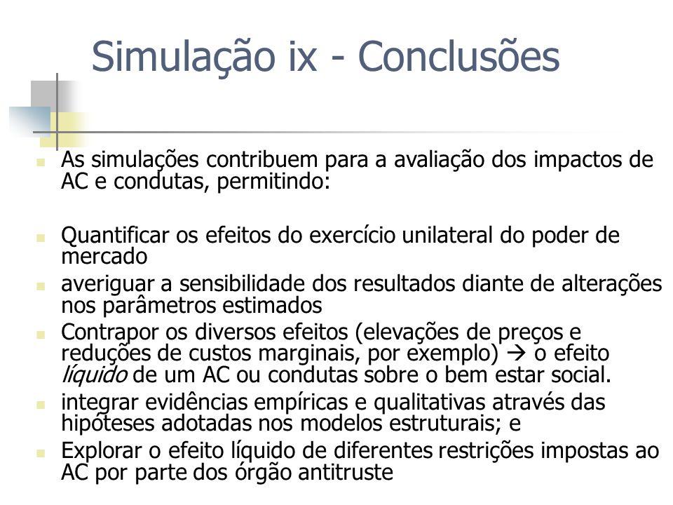 Simulação ix - Conclusões As simulações contribuem para a avaliação dos impactos de AC e condutas, permitindo: Quantificar os efeitos do exercício uni