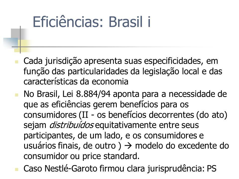 Eficiências: Brasil i Cada jurisdição apresenta suas especificidades, em função das particularidades da legislação local e das características da econ