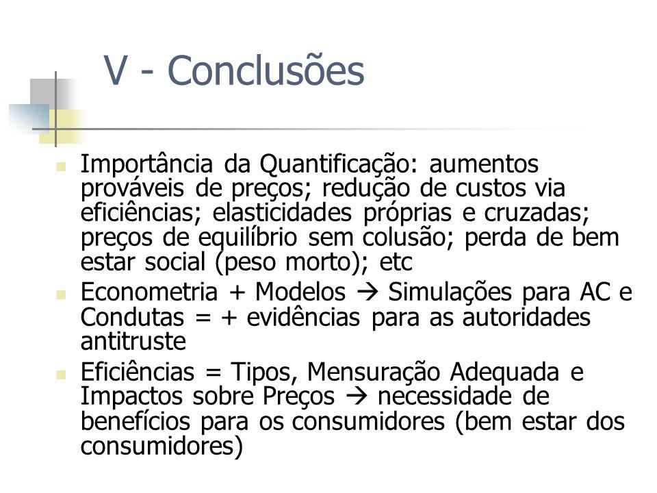 V - Conclusões Importância da Quantificação: aumentos prováveis de preços; redução de custos via eficiências; elasticidades próprias e cruzadas; preço