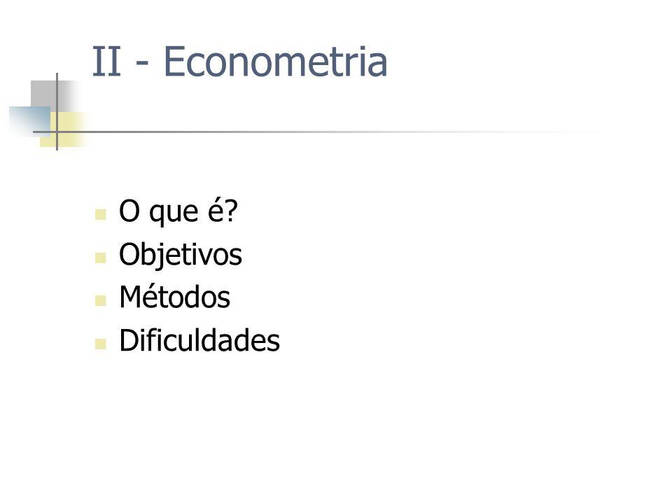 II - Econometria O que é? Objetivos Métodos Dificuldades