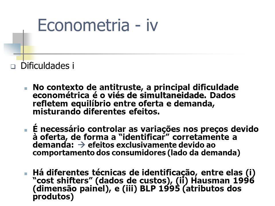 Econometria - iv Dificuldades i viés de simultaneidade No contexto de antitruste, a principal dificuldade econométrica é o viés de simultaneidade. Dad
