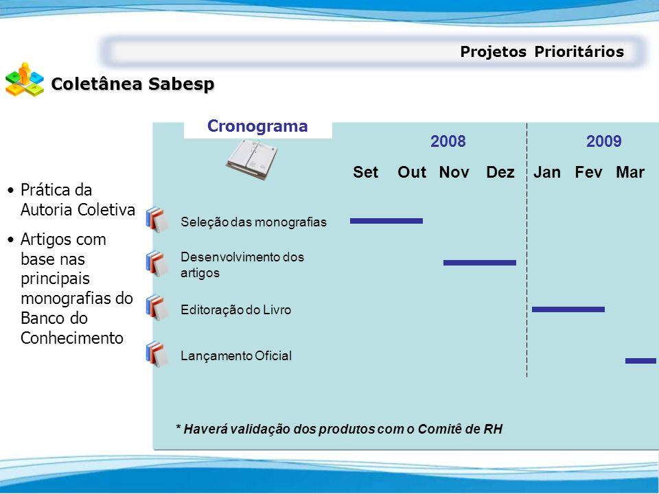 Projetos Prioritários Coletânea Sabesp Prática da Autoria Coletiva Artigos com base nas principais monografias do Banco do Conhecimento SetOutNovDezJa